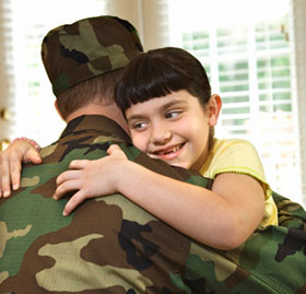 military child with father