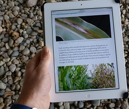 crop scout book opend on an iPad