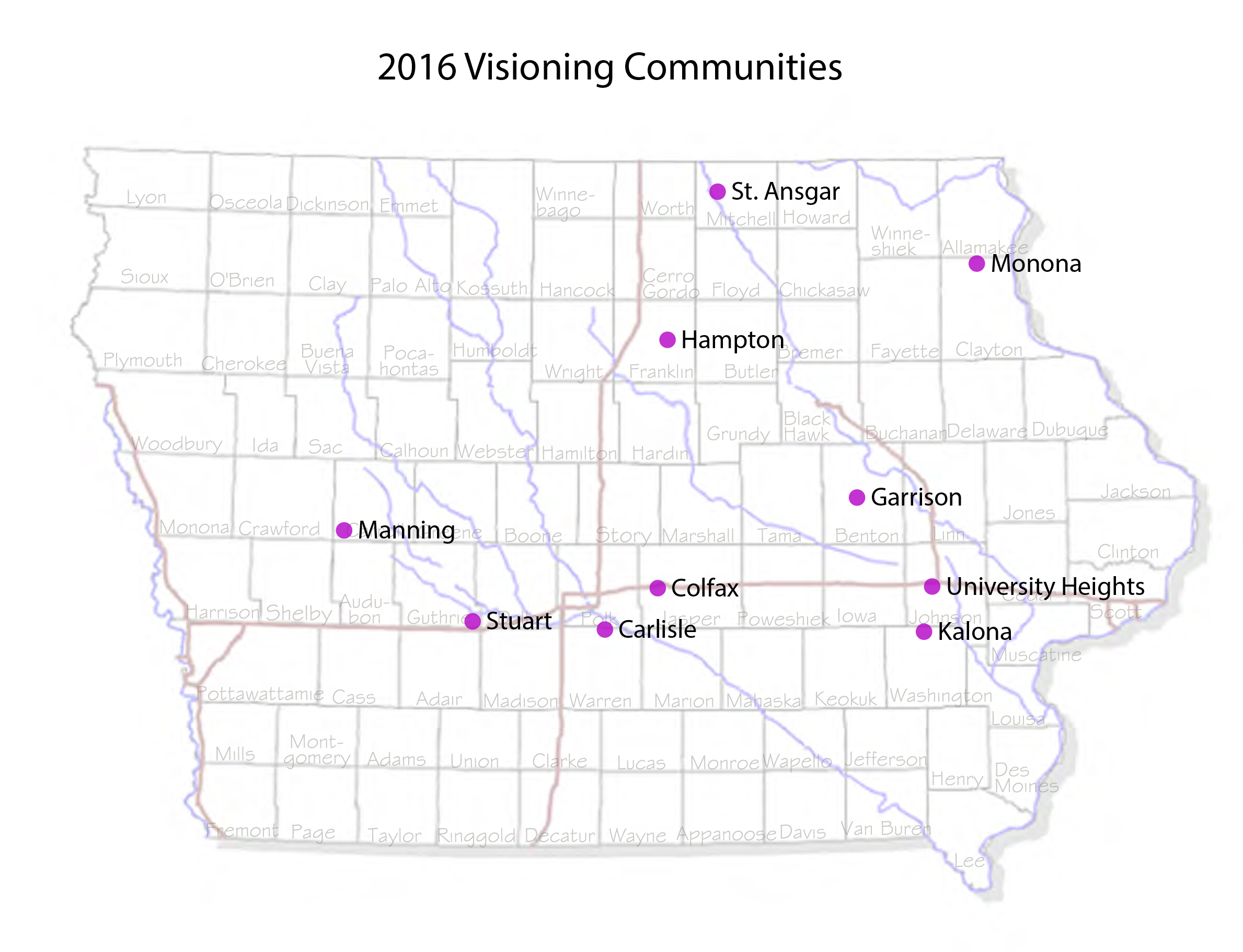 Iowa Towns Selected For Community Visioning Program Iowa - Map of iowa towns