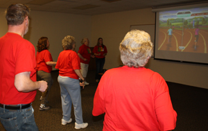 group of older adults exergaming