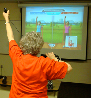 older woman exergaming