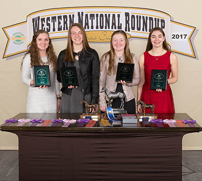 4 4-H members with awards at western national roundup