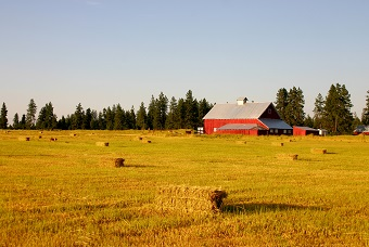 an acreage with barn and bales of hay