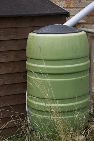 conserve drinking water use rain barrel