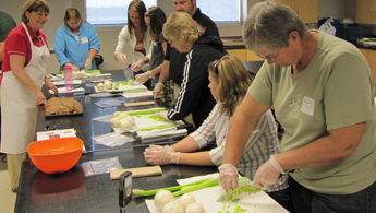 foodservice workers practice knife skills