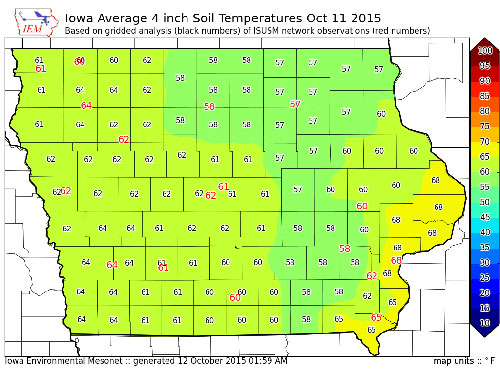 Farmers reminded to wait until soil temps are 50 degrees for Soil temperature map