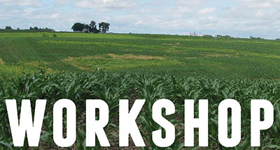 the word workshop superimposed on a farm field