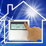 graphic of a home with a home thermostat and sun shining