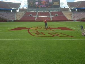 The center logo on the field spans from one 42 yardline to the other 42 yardline.
