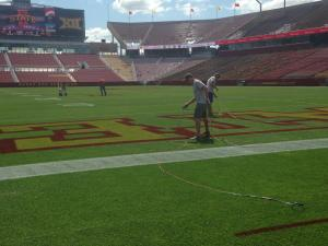 ISU Horticulture students focusing on turfgrass management help care for Jack Trice Stadium.