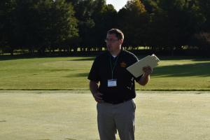 Adam Thoms presenting on topdressing for putting greens.