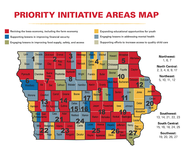 Color coded map of Iowa with COVID-19 Recovery top priority by county.