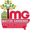Iowa State University Master Gardener Logo with a hand and a tree.