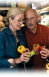 A senior pair of adults looking at peppers