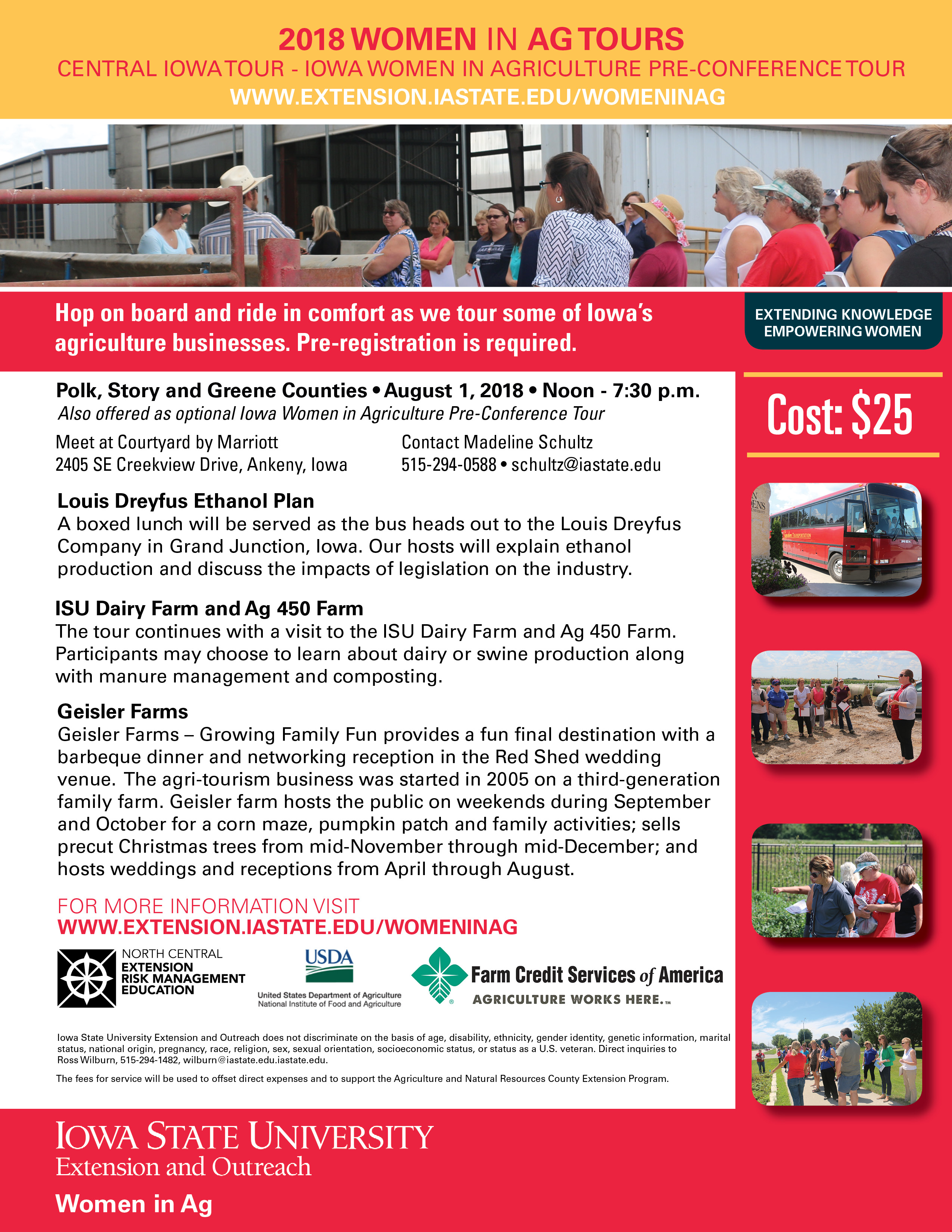 Register Online for the Central Iowa Women in Ag Tour • Polk, Story, and Greene Counties • August 1, 2018