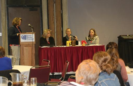 Women in Ag Program Manager Madeline Schultz speaking with our 3 panelists