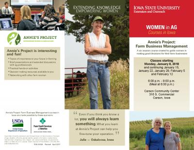 Farm Business Management | Carson, Iowa | Begins Monday, January 8, 2018