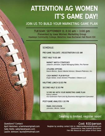 It's Game Day! Iowa Women Marketing Group conference in Waterloo flier