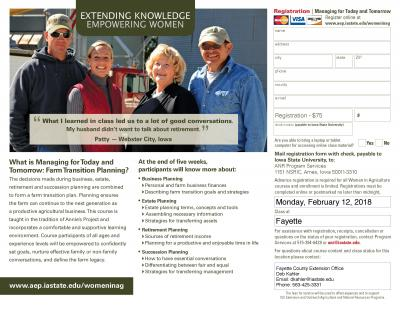 Farm Transition Planning | Fayette, Iowa | Begins Monday, February 19, 2018