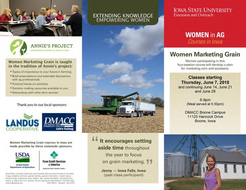 Women Marketing Grain in Boone begins Thursday, June 7, 2018