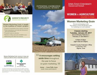 Brochure for Women Marketing Grain to be held in Newton for four weeks beginning January 24, February 7, February 21 and March 7