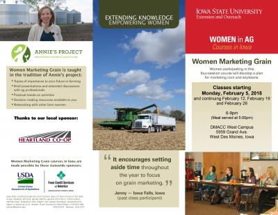 Women Marketing Grain in West Des Moines begins Monday, February 5, 2018