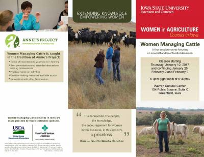 Women Managing Cattle to be held in Greenfield beginning January 12, 2017.
