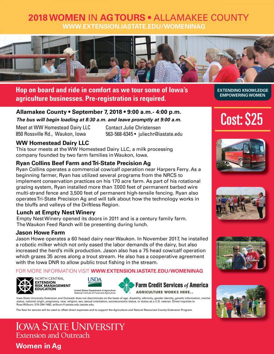 Register Online for the 2018 Women in Ag Tours • Allamakee County • September 7, 2018