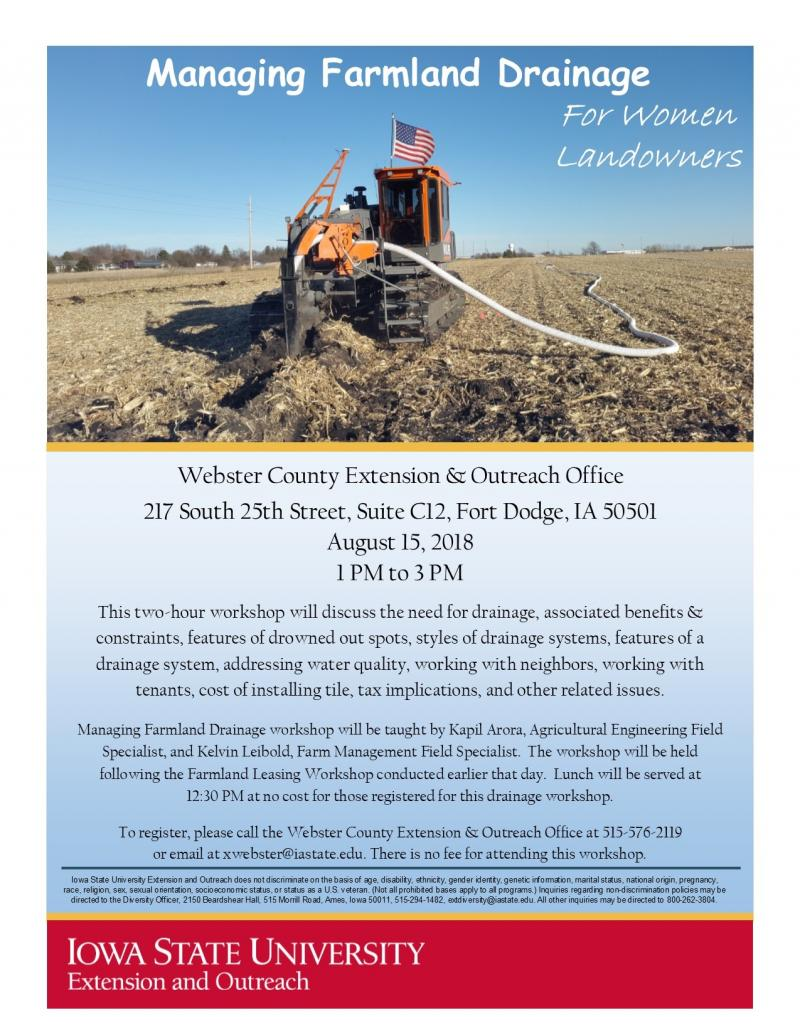 Farmland Drainage Workshop Flyer