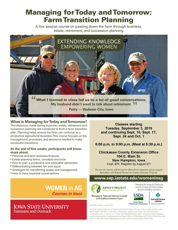 Farm Transition Planning | New Hampton, Iowa | Begins Tuesday, September 3, 2019