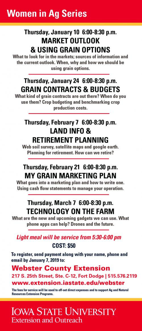 Iowa State University Extension and Outreach - Webster County Women in Ag Series begins Thursday, January 10, 2019