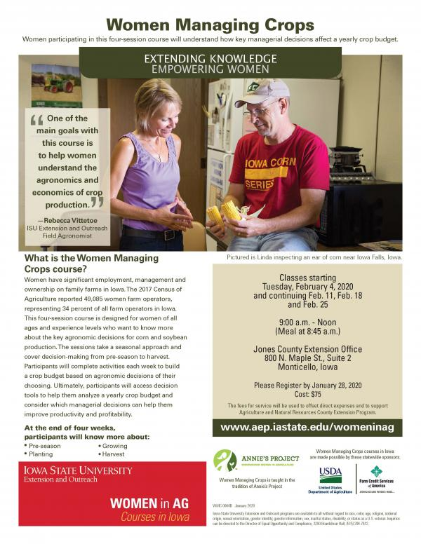 Women Managing Crops | Monticello, Iowa | Begins Tuesday, February 4, 2020