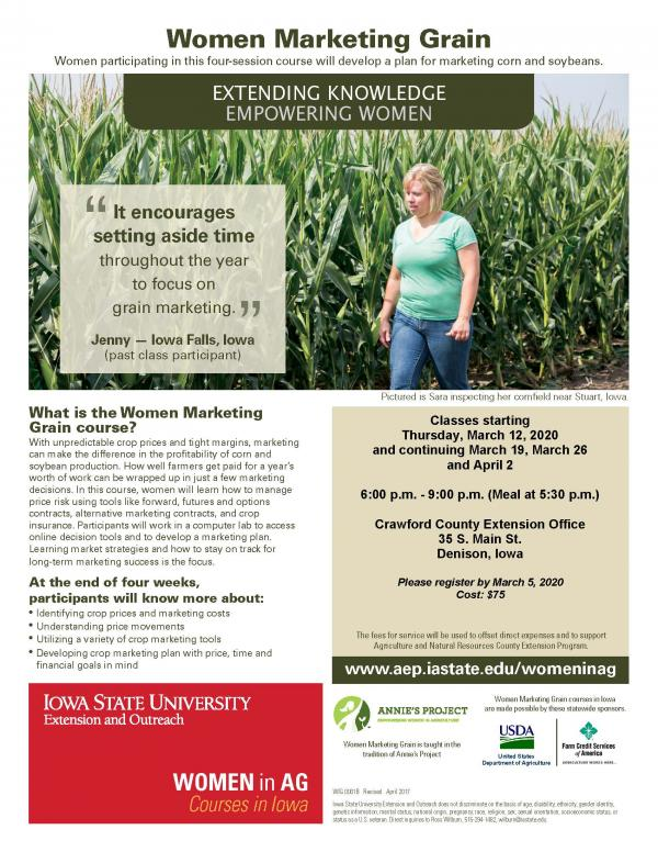 Women Marketing Grain | Denison, Iowa | Begins Thursday, March 12, 2020