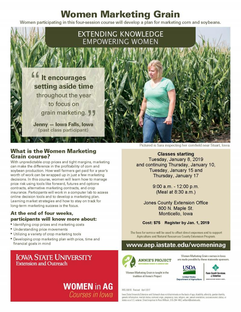 Women Marketing Grain in Monticello begins Tuesday, January 8, 2019
