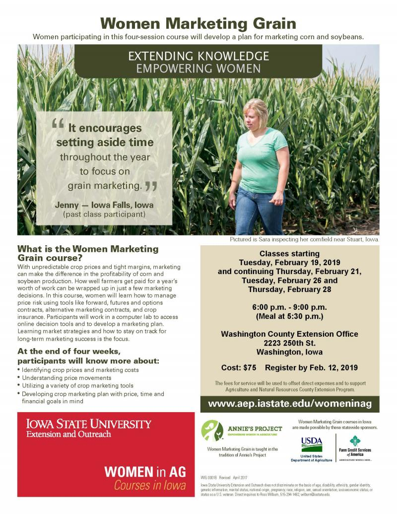 Women Marketing Grain in Washington begins Tuesday, February 19, 2019