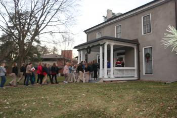 ISU Women in Ag Leadership Conference attendees tour the Farm House on ISU's campus in November 2017..