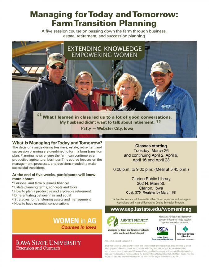 Farm Transition Planning | Clarion, Iowa | Begins Tuesday, March 26, 2019