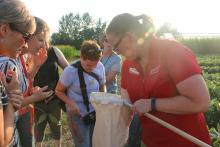 Agronomy in the Field class studies insects at Iowa State University field laboratory