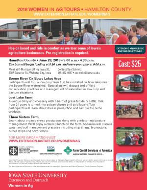 Downloadable form for 2018 Women in Ag Tours • Hamilton County • June 28, 2018