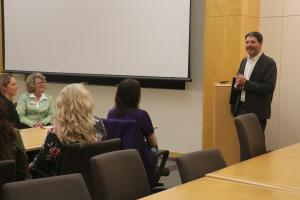 Dr. Joshua Rosenbloom, Professor and Chair of the Department of Economics, addressed the Central Iowa WomeAgribusinessn in  group at Kildee Hall on March 29, 2019.