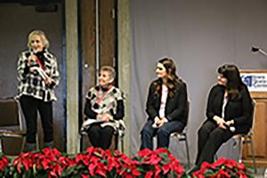 Melissa O'Rourke facilitating a panel discussion at ISU Extension Women in Ag Leadership Conference December 2019.