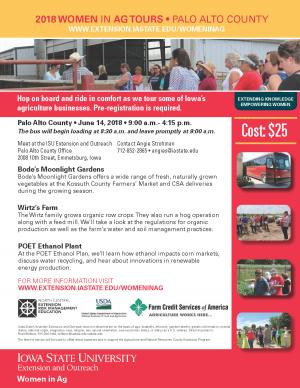 Download this form to register for the 2018 Women in Ag Tours - Palo Alto County • June 14, 2018