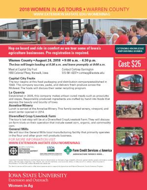 Download this form to register for the Women in Ag Warren County Tour • August 24, 2018
