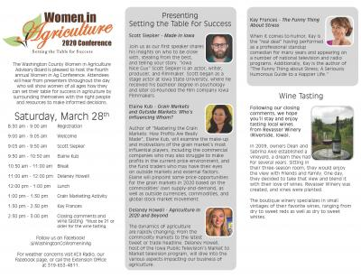 Washington County Extension Women in Agriculture 2020 Conference scheduled March 28, 2020