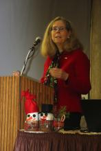 Dr. Wendy Wintersteen, ISU President, addresses ISU Extension and Outreach Women in Ag Leadership Conference attendees.