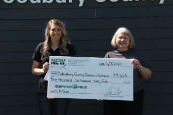 Two women holding large check