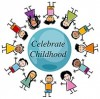 "Children around a globe with text reading ""Celebrate Childhood"""