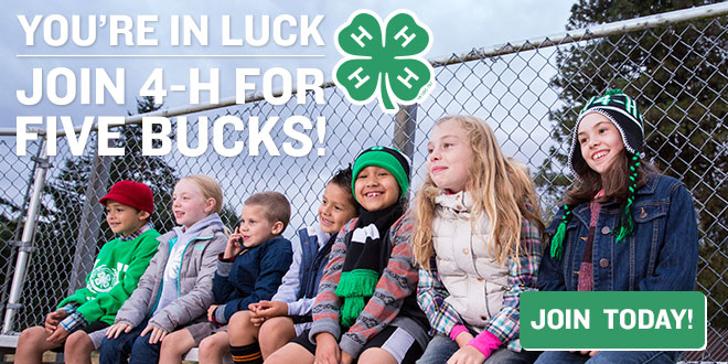 You're in luck - join 4-H for five bucks!